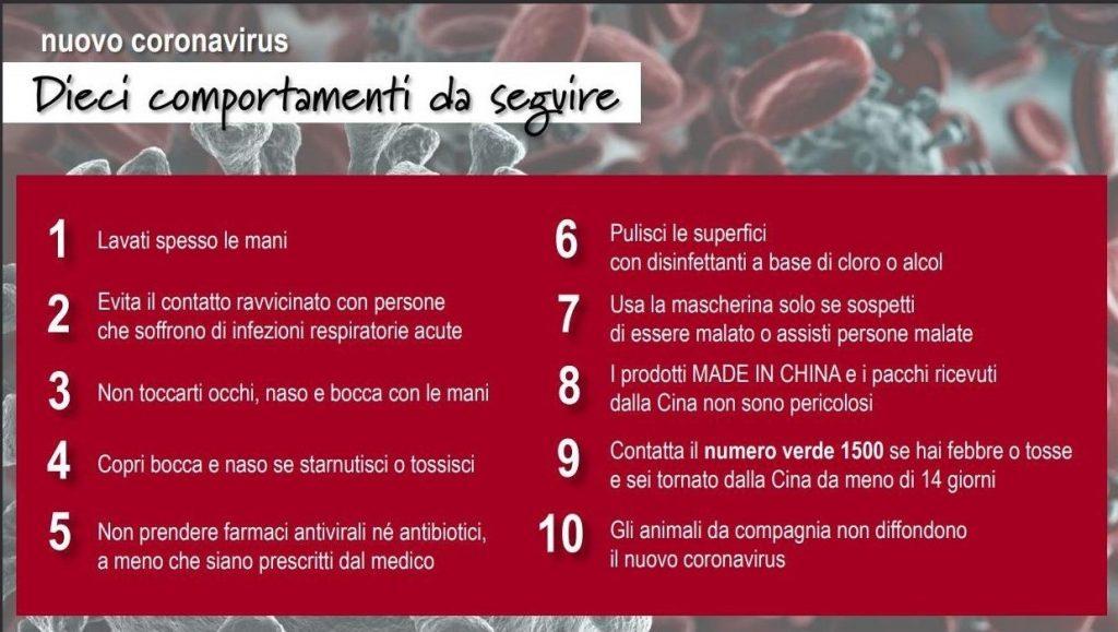 Emergenza COVID-19 – Dieci regole da seguire