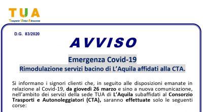Emergenza COVID-19/  ORARI CORSE TUA