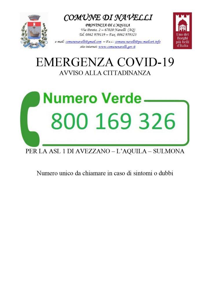 NUMER VERDE EMERGENZE COVID-19