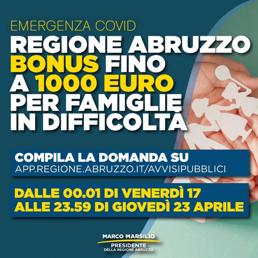 Bonus famiglia per acquisto di beni di prima necessità – Regione Abruzzo